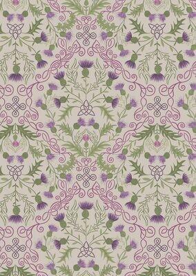 Lewis & Irene Lock Lewis - Purple Thistle on Natural