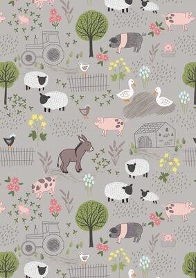 Lewis & Irene Piggy Tails - Farmyard on Mid-Grey