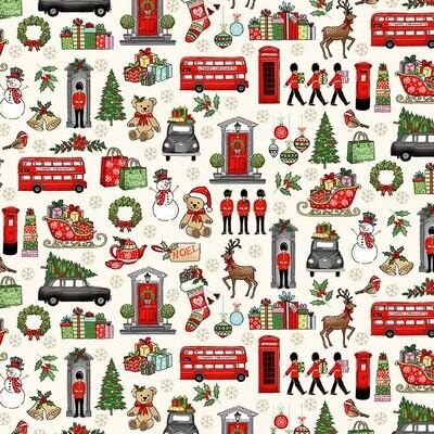 Makower Christmas 21 London - Xmas Icons on Cream