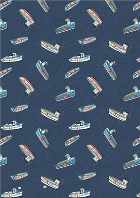 **REMNANT** Lewis & Irene Harbour Side - Fishing Boats on Navy Blue 98cm x 112cm