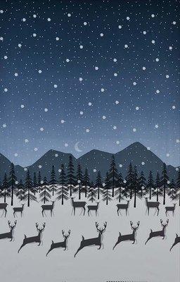Michael Miller Winter Tails - Prancing Deer Border