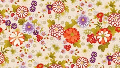 **REMNANT** Makower Kimono - Chrysanthemum on Cream 77cm x 112cm