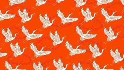 Makower Kimono - Cranes on Red