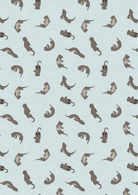 Lewis & Irene Small things…Country Creatures - Otter on Light Blue