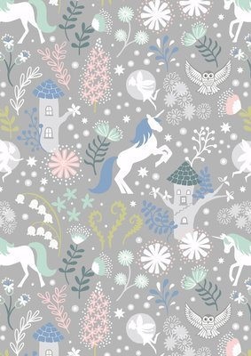 **REMNANT** Lewis & Irene Fairy Lights - Unicorn Forest on Grey (Glow in the Dark) 22cm x 112cm