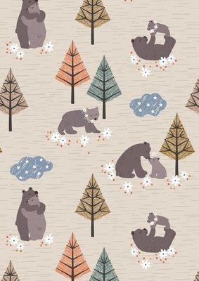 **REMNANT** Lewis & Irene Bear Hug - Bear Hug on Natural 68cm x 112cm