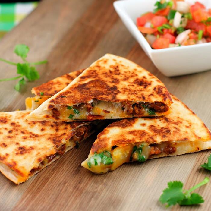 Quesadillas with salsa & Sour cream