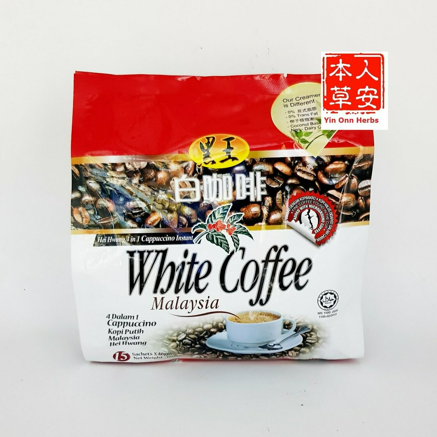 黑王4in1特浓白咖啡 40gmX15's Hei Hwang 4in1 Cappuccino White Coffee