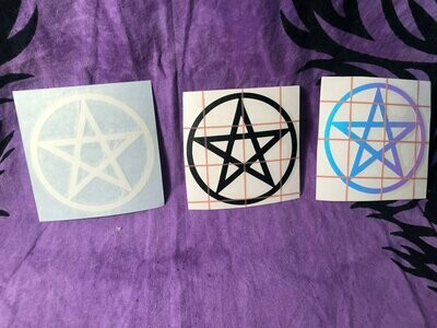 Witchy Vinyl Decal - Pentagram - Triquetra - Adhesive decal- Car Decal - Witch Accessory -