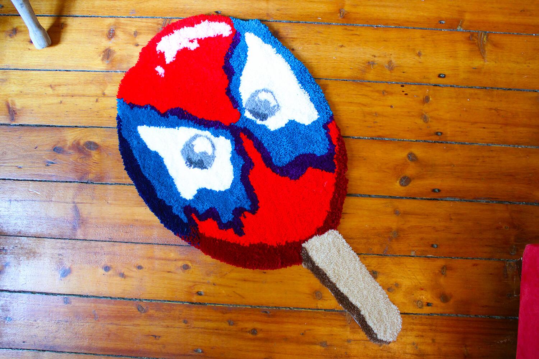 """""""Psychedelic Web Slinger"""" Hand-Made Art Rug"""