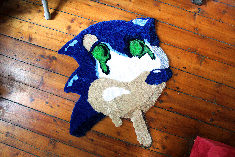 """Panic the Stresshog"" Hand-Made Art Rug"