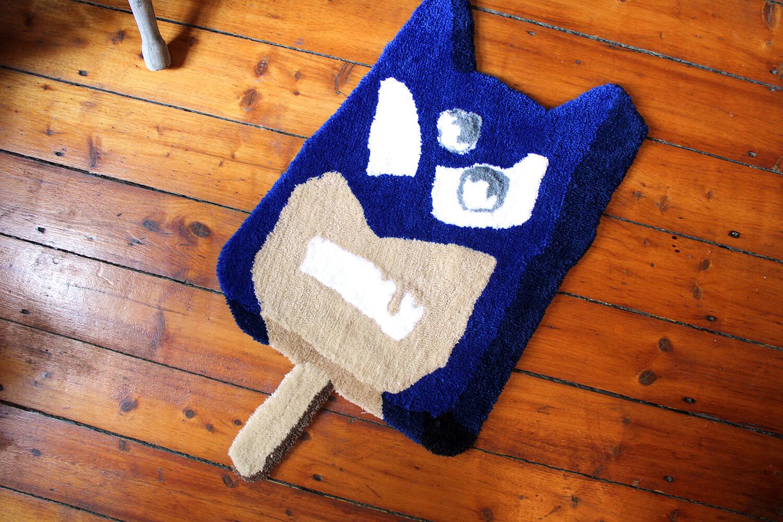"""Third Eye Bat Guy"" Hand-Made Art Rug"