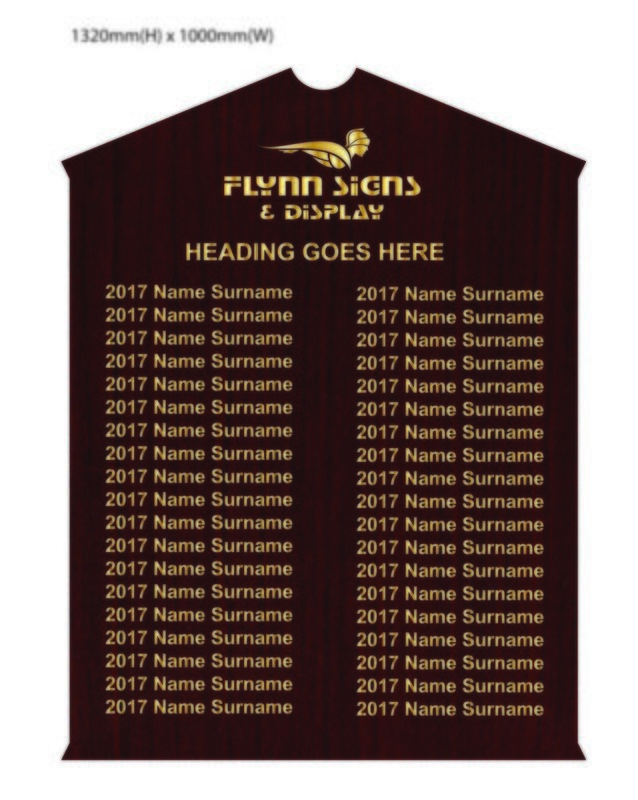 1250 x 1000mm Traditional Apexed Honours Board