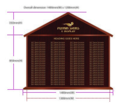 1400 x 1200mm Traditional Apexed Honours Board