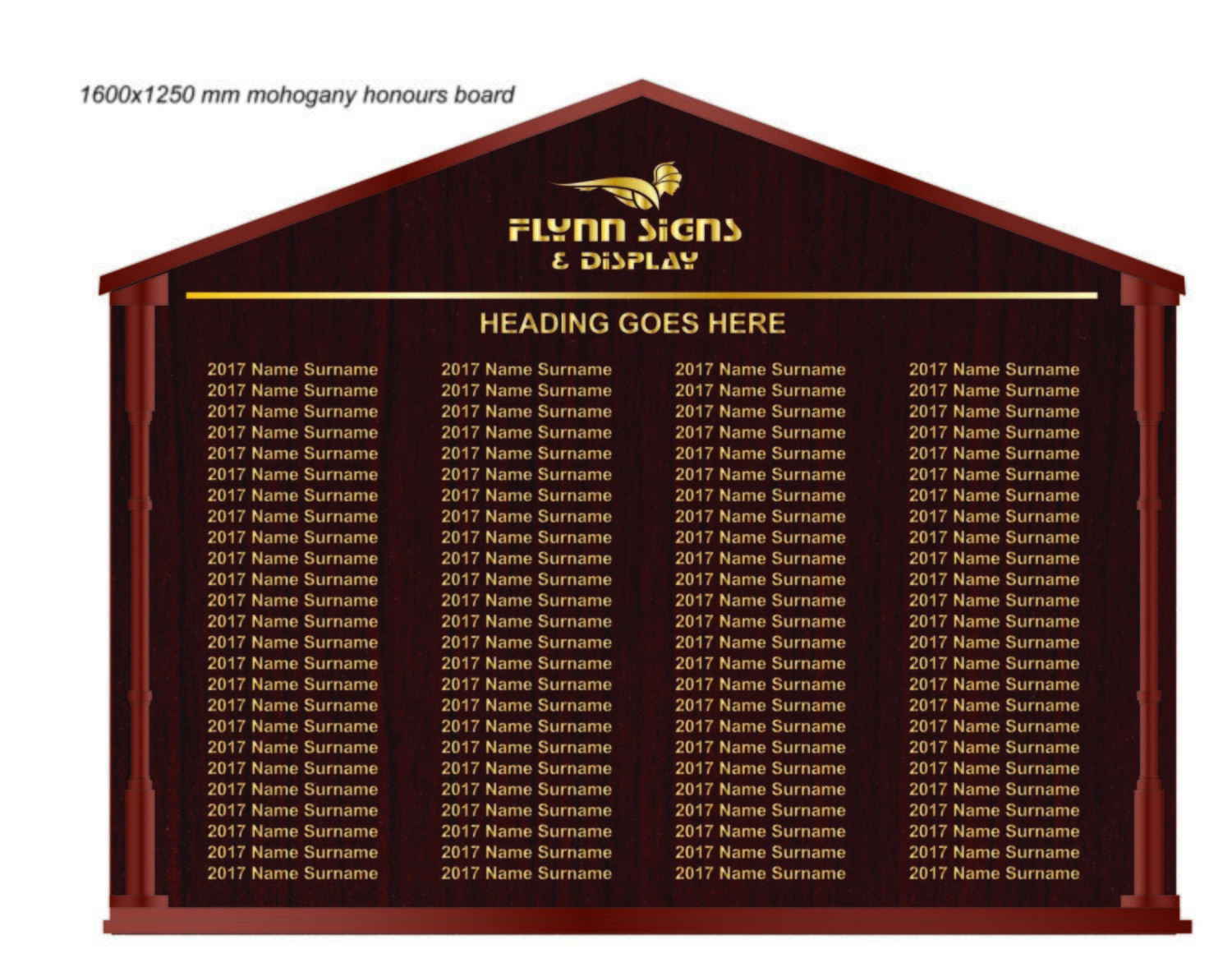 1600 x 1250 mm Traditional Apexed Honours Board