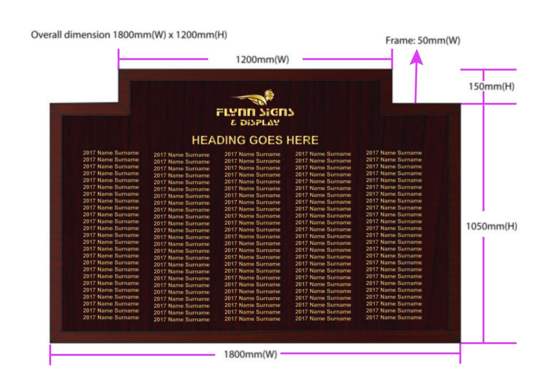 1800 x 1050 mm Traditional Bespoke Top Honours Board