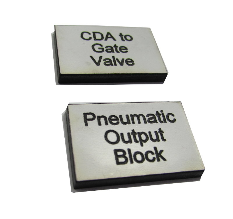 1.5mm 50 x 50mm square engraved labels (€1.85 each)