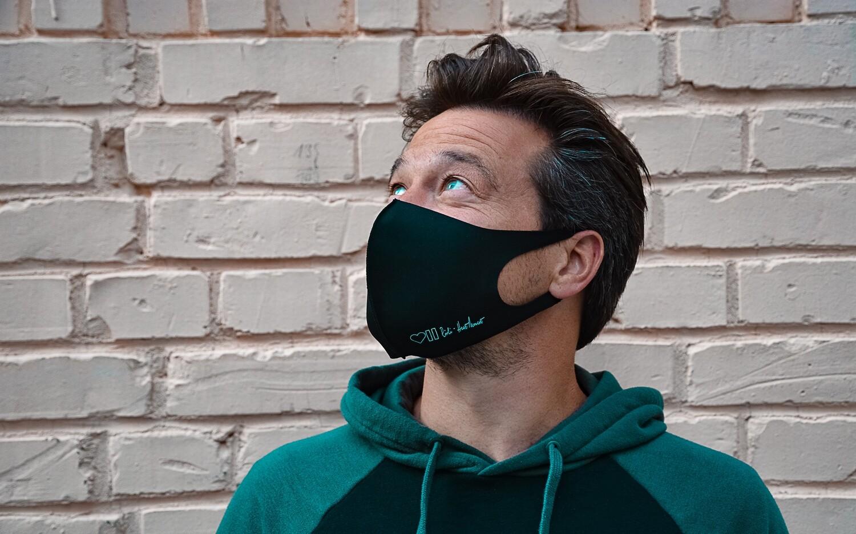 Fashion Gesichtsmaske I Wiederverwendbar I Schwarz I Elastischer Stoff für perfekten Tragekomfort