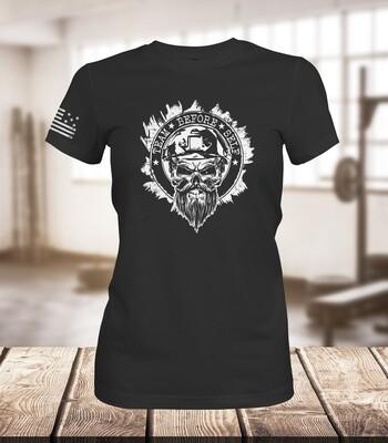 TBS Bearded Goon White Out Logo/Ladies T-Shirt