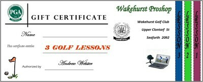 PGA Golf 3 Lesson Voucher