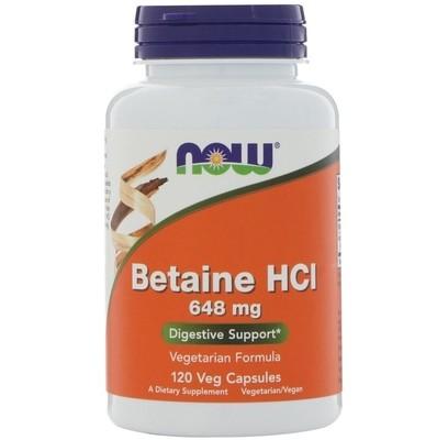 בטאין HCL בתוספת פפסין- תוספת מיץ קיבה לאנשים עם תת חומציות בקיבה | Now Betaine HCL with Pepsin