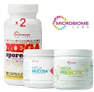 ערכה לשיקום המעי - פרוטוקול תלת חודשי - לטפל במערכת העיכול מהשורש! | Total Gut Restoration Kit ( 2 x Megaspores 60c  + 1 x Mega Prebiotic + 1xMegaMucosa) - by Microbiome Labs