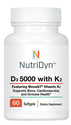D3 5,000 IU, with K2, 60 capsules - Nutridyn