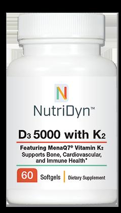 ויטמין D3 5,000 עם K2 לשיפור הספיגה - 60 כמוסות צמחיות | D3 5,000 IU with K2, 60 capsules - Nutridyn
