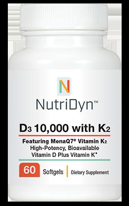 ויטמין D3 10,000 עם ויטמין K בזמינות ביולוגית גבוהה  - 60 כמוסות צמחיות | D3 10,000 IU, with K2, 60 capsules - Nutridyn