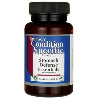 סטומק דיפנס אסנשיאלז - 60 כמוסות - מאזן יתר חומציות בקיבה | Stomach Defense Essentials 60vc - Swanson Vitamins