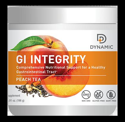 אבקה להכנת משקה בטעם תה אפרסק לתמיכה במערכת העיכול | Dynamic GI Integrity - Nutridyn