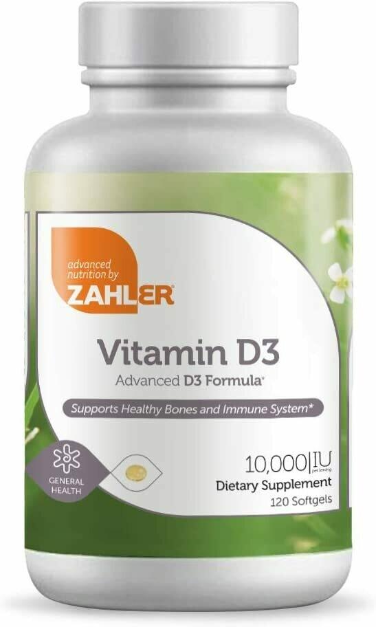 ויטמין D3 10,000, תומך בבריאות העצמות, השרירים, השיניים ומערכת החיסון, כשר למהדרין ,  120 כמוסות | D3 10,000, 120vc Kosher - Zahler