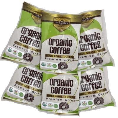 קפה אורגני טהור לחוקן  - ללא עובש, - 6 שקיות במבצע  - 453 גרם ליחידה | Organic Coffee 473 gr - 6 units - S.A.Wilsons