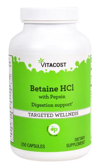 בטאין HCL בתוספת פפסין- תוספת מיץ קיבה לאנשים עם תת חומציות בקיבה | Betaine HCL 250c - Vitacost