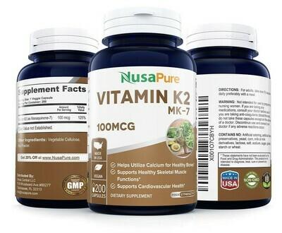 ויטמין K2 מתקדם - MK-7. מכיל 200 כמוסות צמחיות, 100 מק