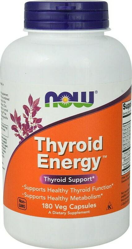 טירואיד אנרג'י - פורמולה לתמיכה בבלוטת התריס - 180 כמוסות טבעוניות, כשר | Thyroid Energy - Now