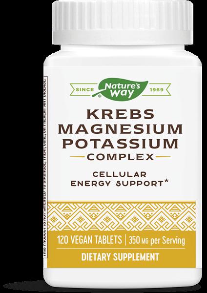 קומפלקס מגנזיום-אשלגן לתמיכה בהפקת האנרגיה התאית (מעגל קרבס) | Krebs Magnesium Potassium Complex, 350 mg per serving 120 Count - Nature's Way