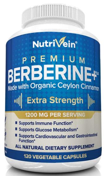 Berberine HCL 1200mg Plus Organic Ceylon Cinnamon 120c - Nutrivein