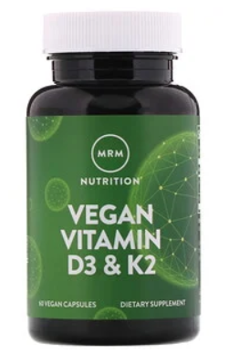 "ויטמין D3 + K2 טבעוני - 2,500 יחב""ל, 60 כמוסות | Vegan Vitamin D3 & K2 60 Vegan Capsules - MRM"