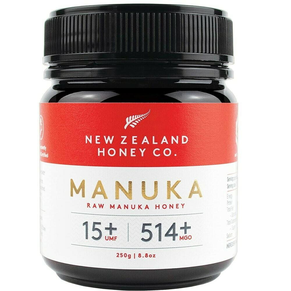 דבש מאנוקה - הדבש הניו-זילנדי המקורי. ריכוז UMF 15+, MGO 514+. | Manuka Honey UMF 15+ 250g - New Zealand Honey Co