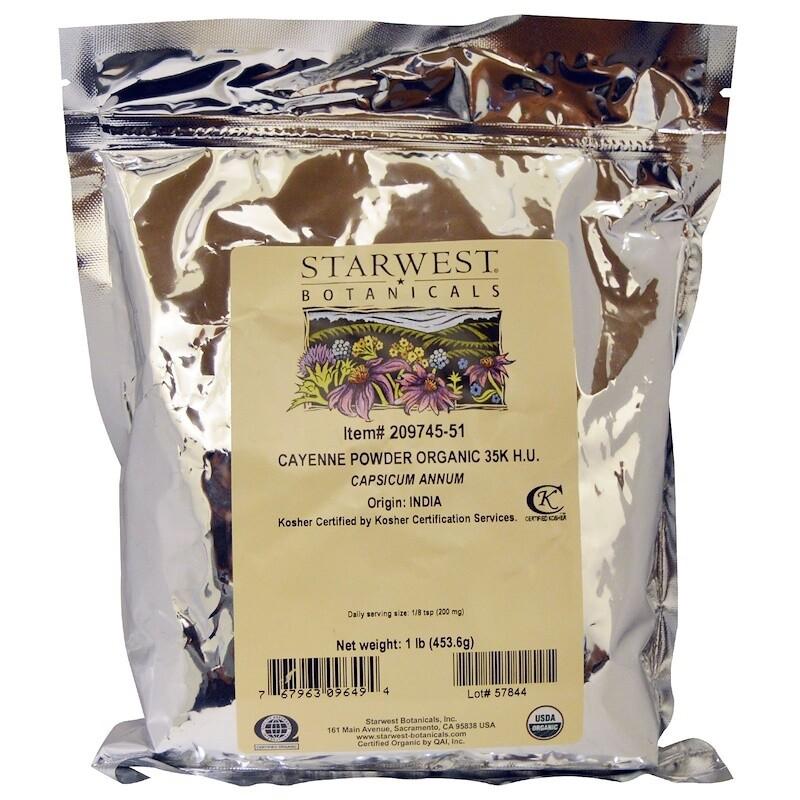 אבקת פלפל קאיין אורגנית כשרה 453 גרם חוזק 35,000 יחידות חום | Organic Cayenne Powder 453g - Starwest Botanicals
