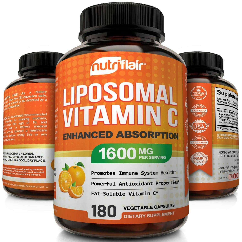 """ויטמין C ליפוזומלי - 1600 מ""""ג למנה, 180 כמוסות צמחיות    Liposomal Vitamin C 1600mg/2, 180 Capsules - Nutriflair"""