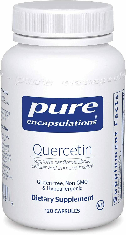 קוורצטין היפואלרגני עם ביופלבונואידים - 120 כמוסות - לבריאות התאים, מערכת הלב, כלי הדם המערכת המטבולית והחיסון הטבעי   Quercetin , 120 Capsules, Pure Encapsulations