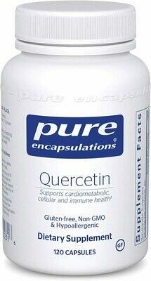 קוורצטין היפואלרגני עם ביופלבונואידים - 120 כמוסות - לבריאות התאים, מערכת הלב, כלי הדם המערכת המטבולית והחיסון הטבעי | Quercetin , 120 Capsules, Pure Encapsulations