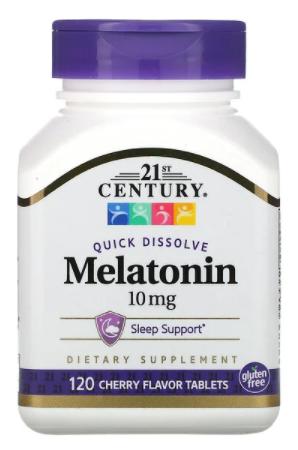"Quick Dissolve Melatonin Cherry Flavor 10 mg 120t | מלטונין למציצה 10 מ""ג 120 טבליות בטעם דובדבן"