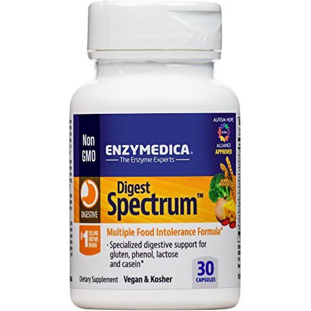 דייג'סט ספקטרום - פורמולת אנזימי עיכול מקיפה לשיפור עיכול במצבים קשים (30 כמוסות) | Digest Spectrum 30c - Enzymedica