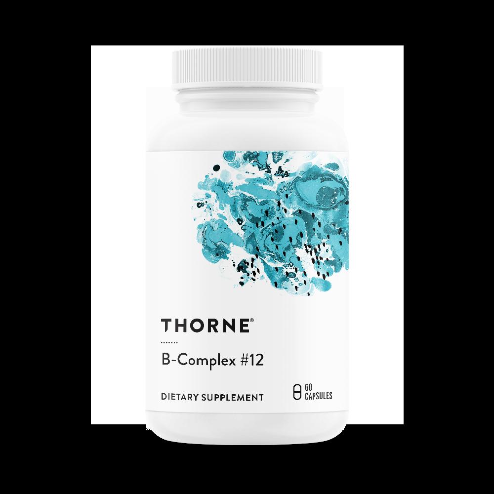 B קומפלקס #12 - תשלובת ויטמיני B פעילים בספיגה גבוהה עם תגבור של מתיל-B12 וחומצה פולית טבעית - 60 כמוסות | B Complex #12 60c - Thorne