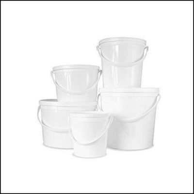 1L White Bucket with Lid