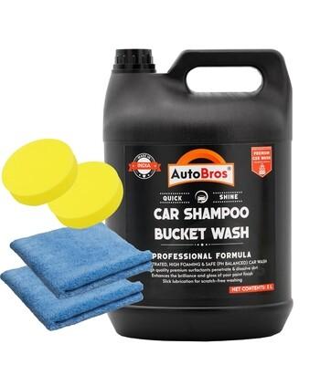 Bucket Wash: Car Shampoo with 2 Microfiber Cloth and 2 Foam Pad Applicator