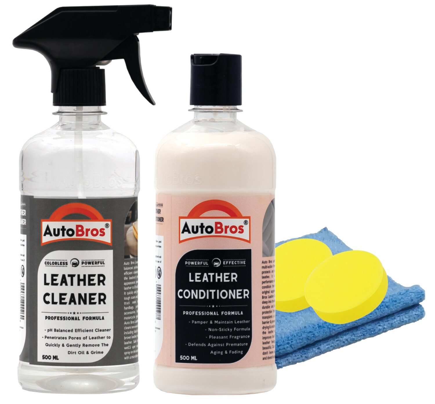 Leather Care Combo Kit - Leather Cleaner with Leather Conditioner + 1Pc Microfiber Cloth + 2 Foam Pad Applicators